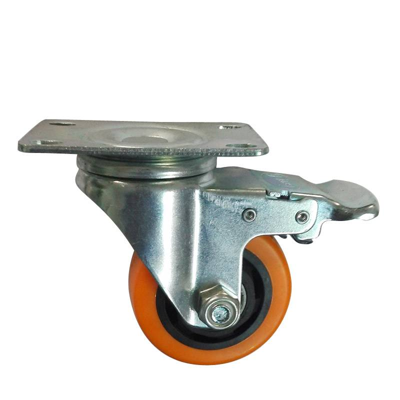 Chinese manufacturers selling 3 inch PVC biaxial orange castor universal brake casters