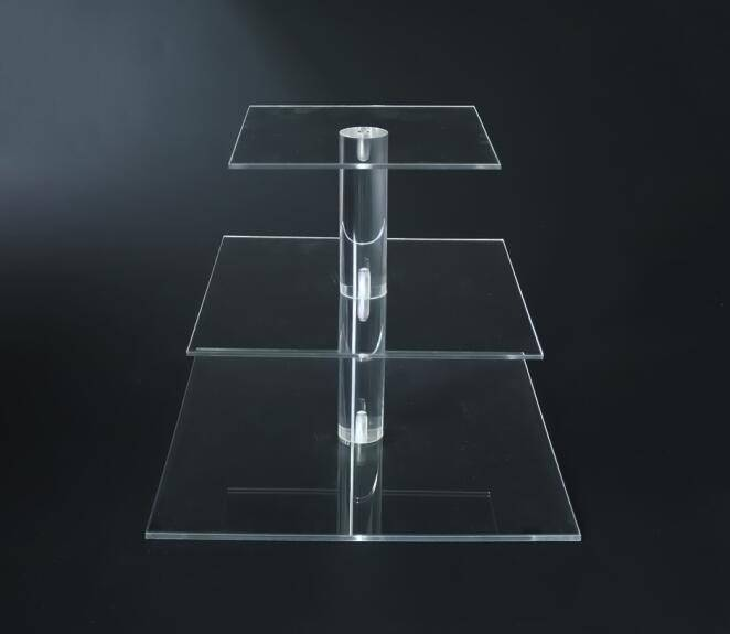 Perpex customized size transparent square cake stand