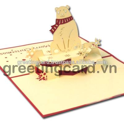 Bear love 3D pop up greeting card