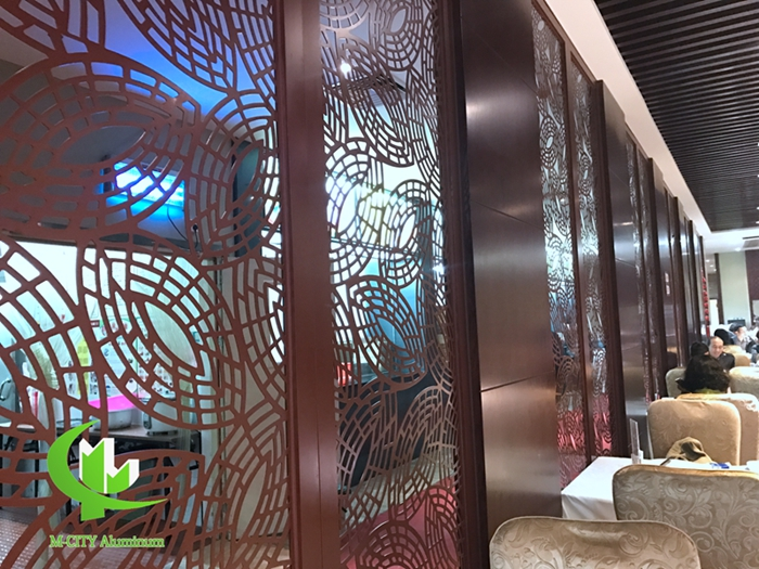 Aluminium laser cutting panel for screen for hotel and room