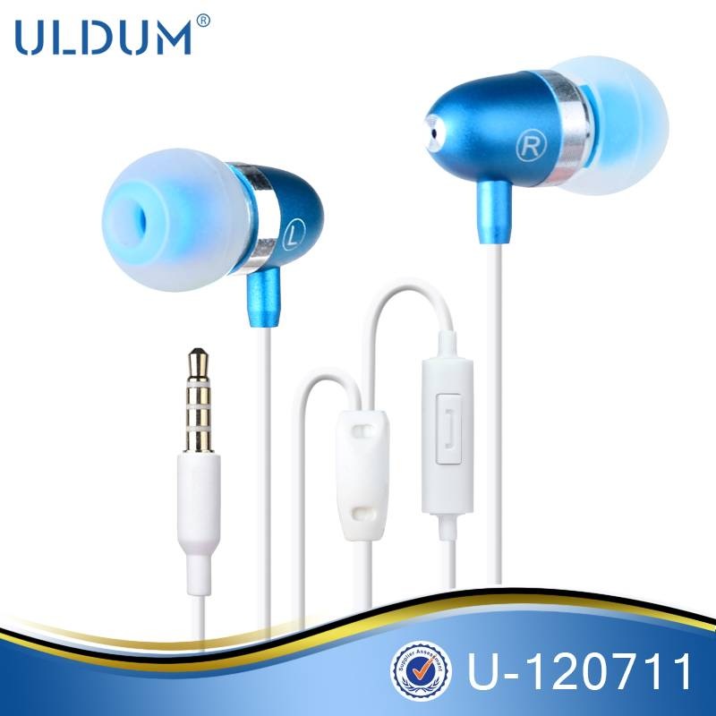 Bullet Shape Wired Cheap Metal Noise Reduction Earphone with Mic for Mobile Phone bullet-head shaped