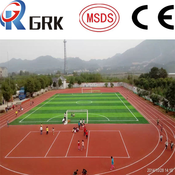 Spray - Coat Red Synthetic Rubber Flooring / Outdoor Permeable Rubberized Track Surface