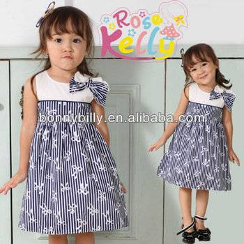 Modern Cotton Dresses for Girl with Bowknot