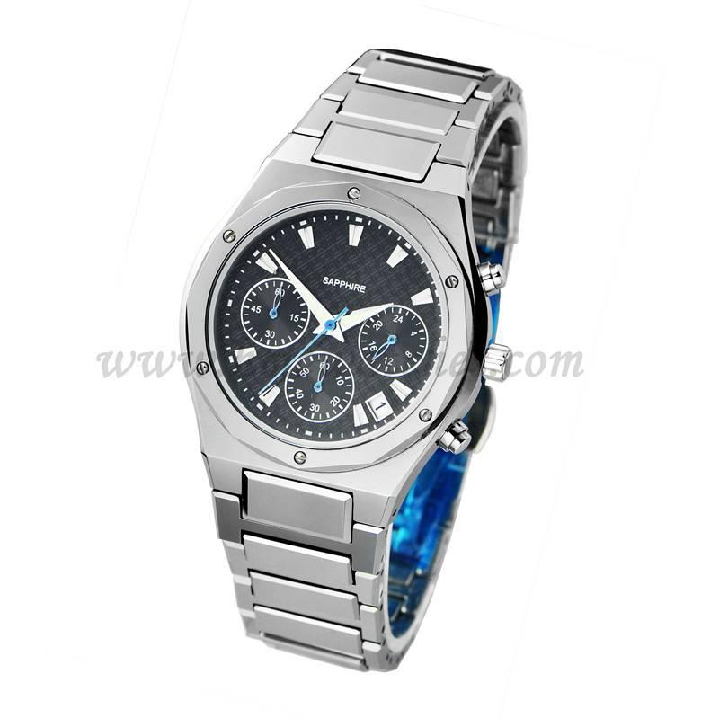 Luxury business tungsten sapphire wrist watch , japan movement quartz chronograph watch with carbon