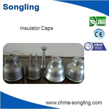 End steel cap for suspended glass insulator