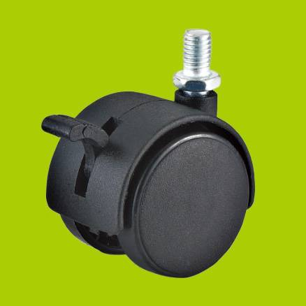 threaded stem swivel nylon furniture casters wheels with brake with brake