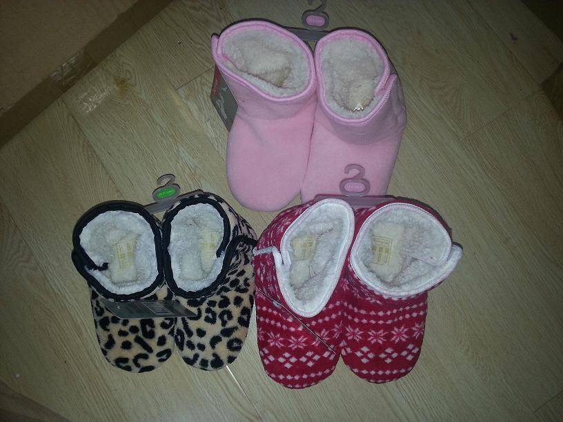 boots for girl coral fleece print