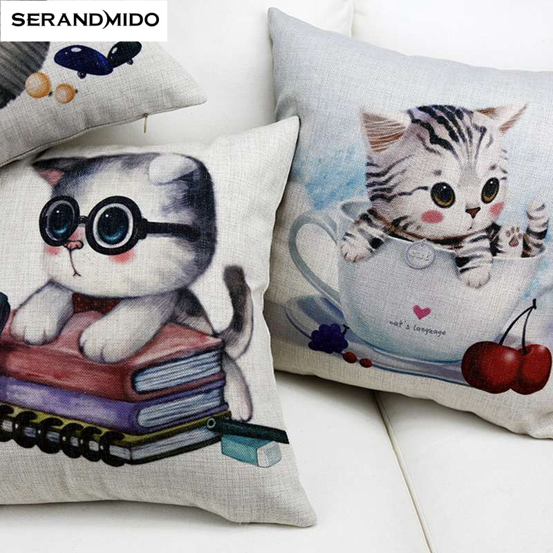 Lovely Cats Cushions Cotton Linen Pillow Case Home Decorative Throw Pillows Cover Size 1818 inches