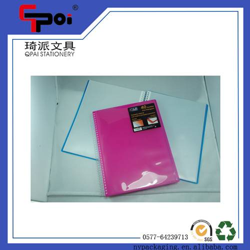 PP Stationery Office Supplier A4 Size Colorful Clear Book Multi Ring Display Book