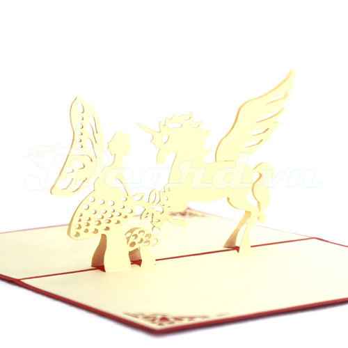 Horse Angel 1-Kirigami-Origami-Laser cut-Paper cutting-3D-Pop up-Handmade-Birthday card