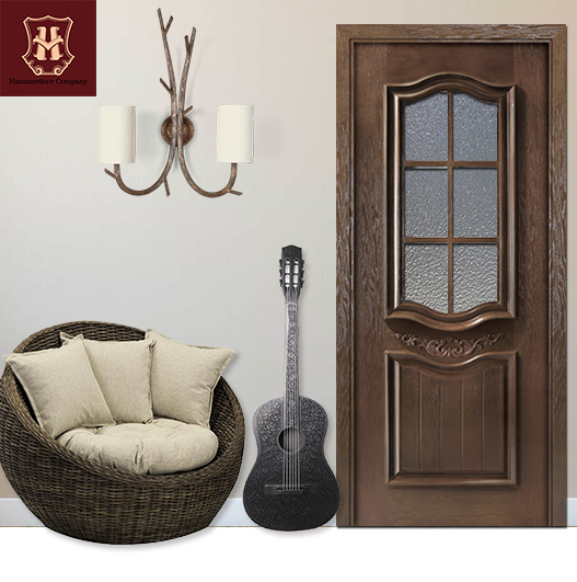 HONMAX house glass insert solid wood door interior door with luxury wooden material and craft design