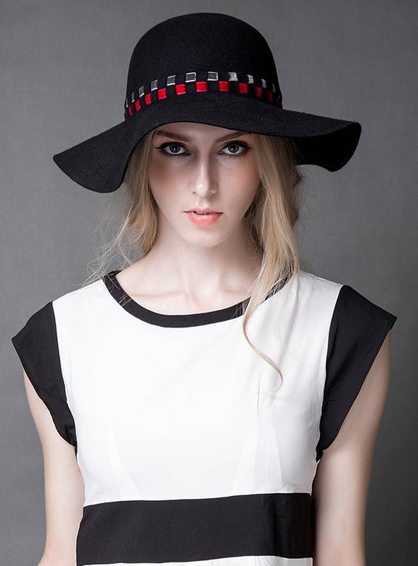 Floppy Wide Brim Wool Felt Hat (FW012395)