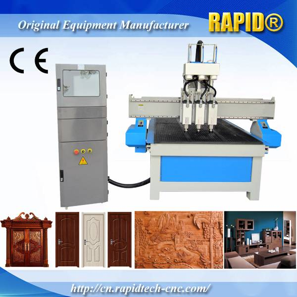 China Rd1325 Pneumatic Atc 3 Heads Wood Furniture Carving CNC Router Machine