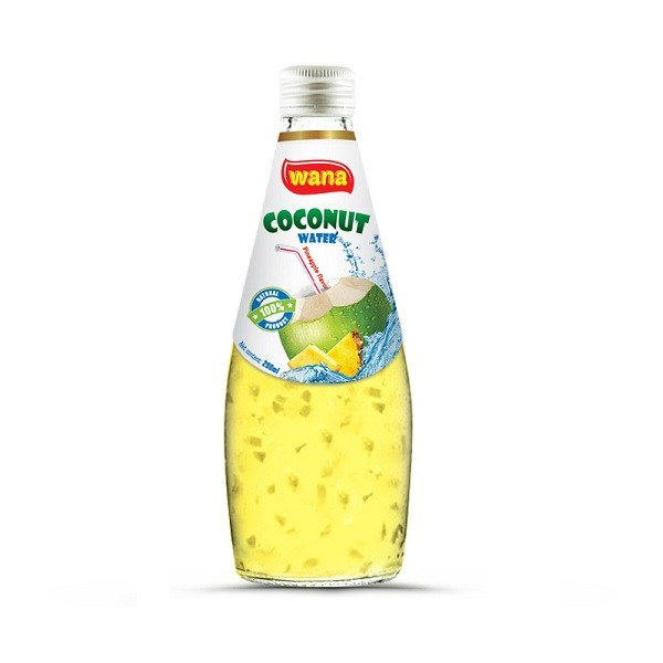 Wholesale Price Pure Coconut Water With Pineapple Juice Flavor in Glass Bottle 290ml