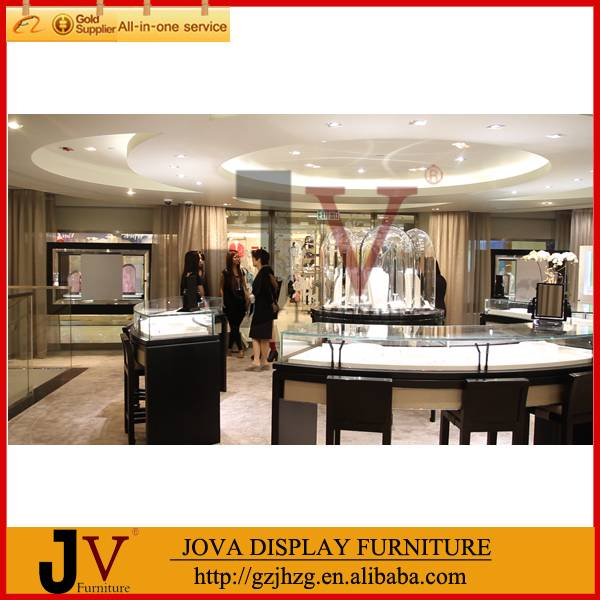 Glass jewelry display cabinets with LED lights in China