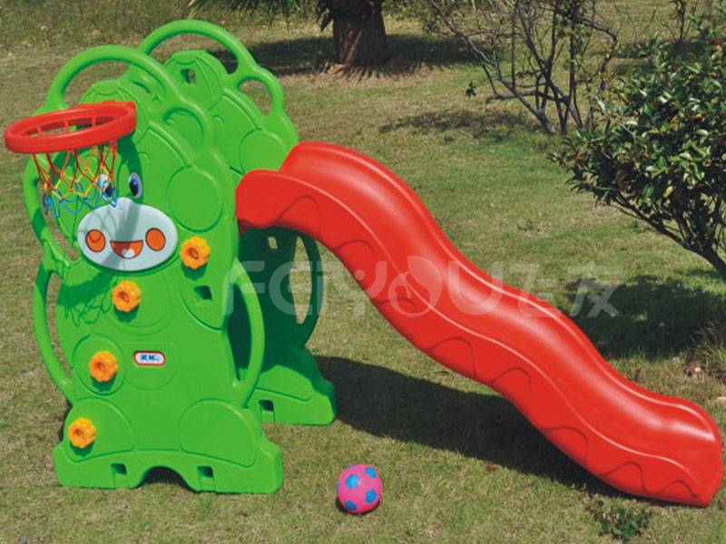 Small playground plastic slide with swing set for kids FY826302