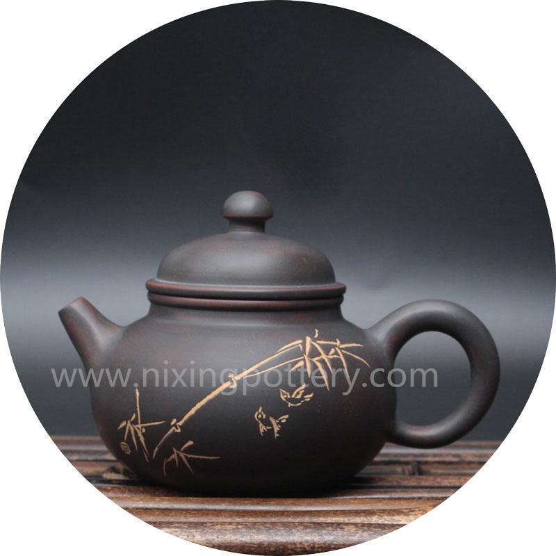 Ceramic Tea Pot Bamboo Pure Handmade Rong Tian Tea Ware Coffee Pot