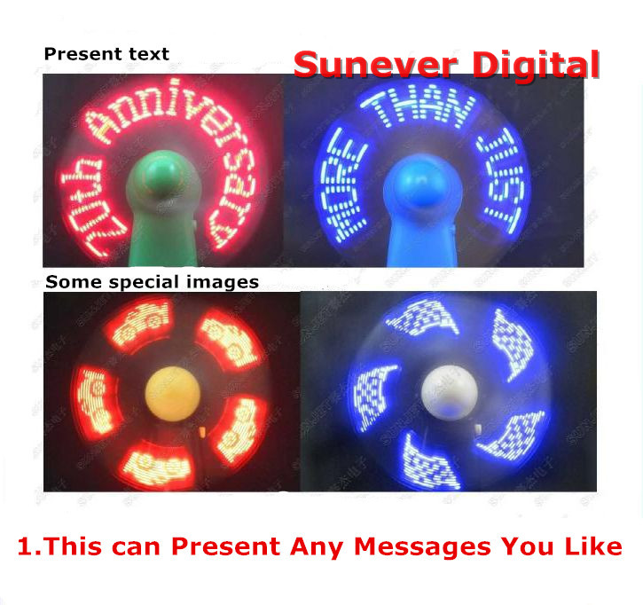 2017 New Summer Promotion Gift souvenir smart Handheld led mini fan with Customized Flashing Message
