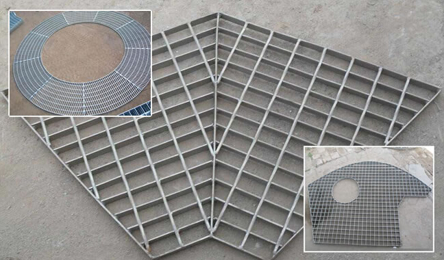 Irregularly shaped steel grating drainage cover
