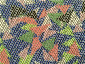 Colorful triangles printed 3d spacer mesh fabric