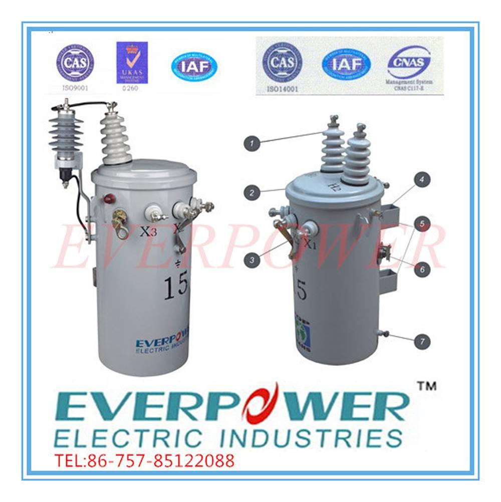 Pole-mounted single phase transformer