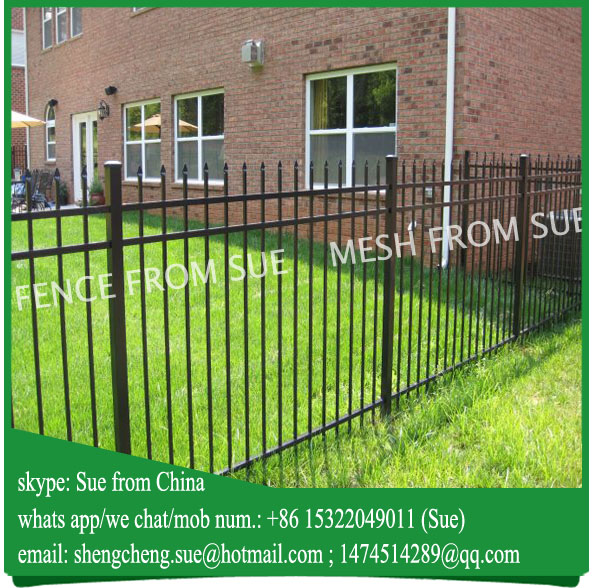 Hot Galvanized powder coated Garden spear picket fence wrought iron fence