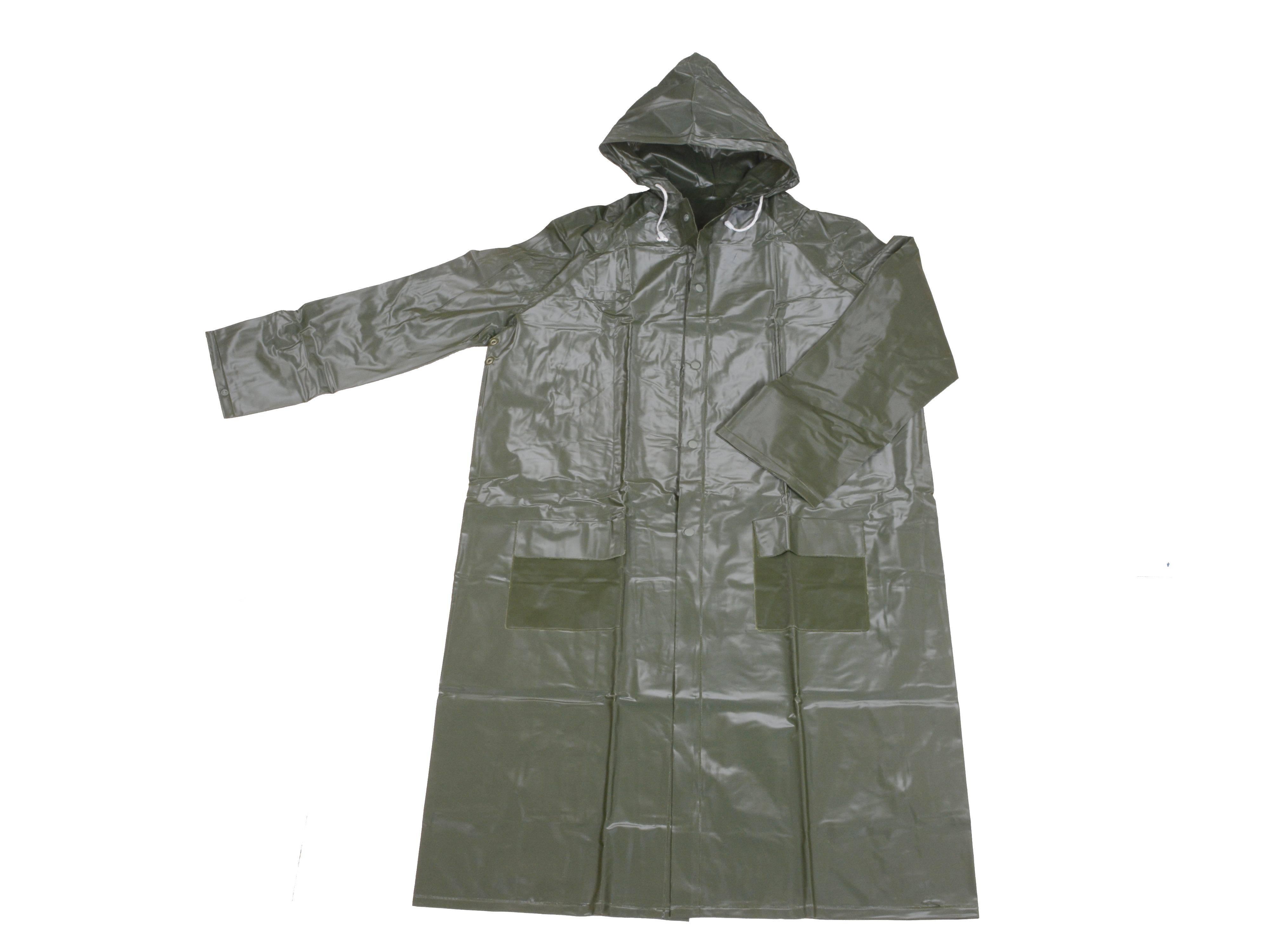 R-1056-9 GREEN HEAVY DUTY PVC VINYL LONG RAIN JACKETS FOR MEN