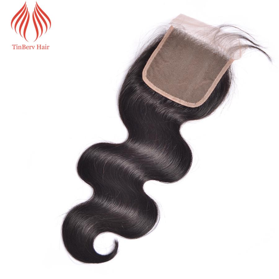 TINBERV BODY WAVE CLOSURE 4X4 NATURAL COLOR VIRGIN HAIR 100% HUMAN HAIR LACE CLOSURE