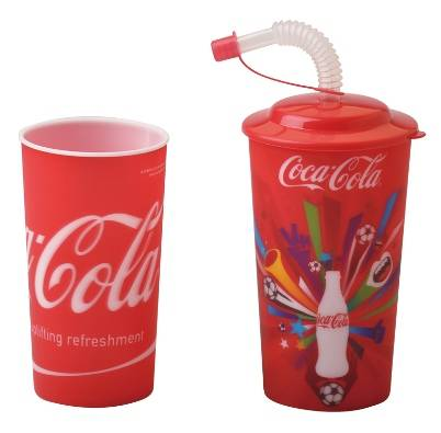 3D customized lenticular plastic cup with lid and straw