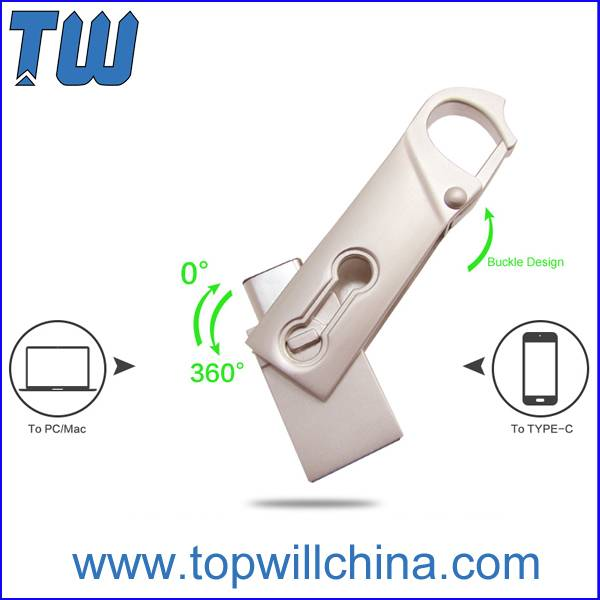 Metal Slim Twister Usb 3.1 Type C Flash Drive Buckle Design