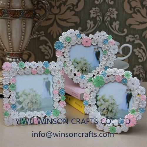 Floret metal photo frame enamel handmade picture frame