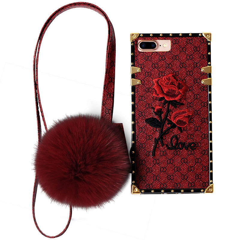 Shockproof Soft Phone Case Embroidery Rose Hairball with Strap for iPhone X/6/7/8 Plus Back Cover