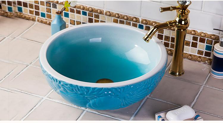 Modern Artistic Luxury European Style High-end Classical Handmade Ceramic Wash Basin Sinks