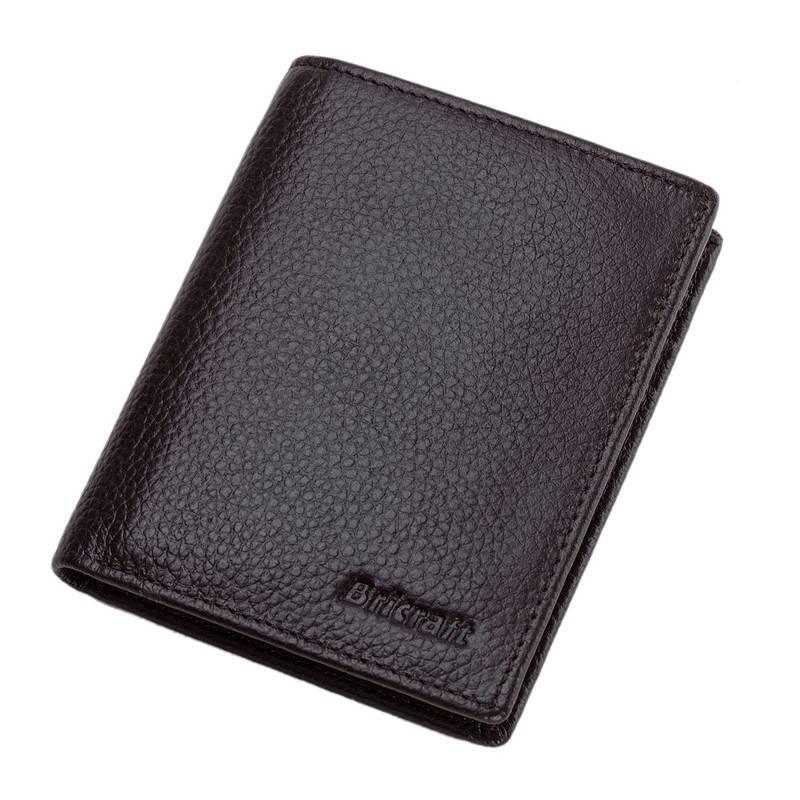 Quality Leather Brwon Bilfold RFID Wallet Men  Safe Wallet Purse
