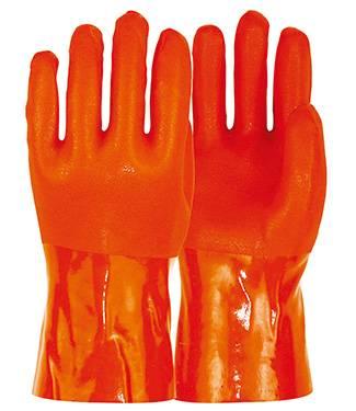 27cm orange sandy finished PVC working safety gloves