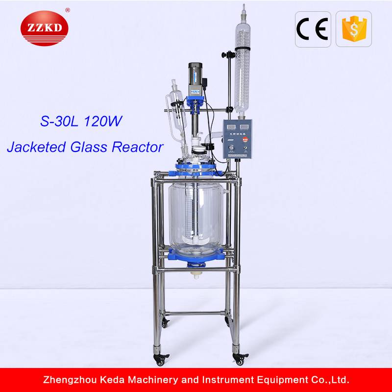 30L Digital Display High Grade GG17 Glass Reaction Stirred Jacket Heating Reactor