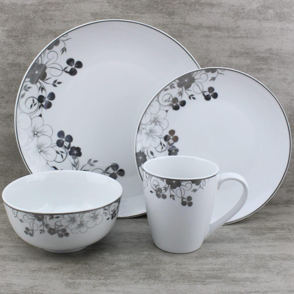festive floral silver dinnerware