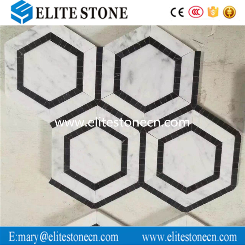 Hexagon Carrara white and Black Marquina marble mosaic floor tile