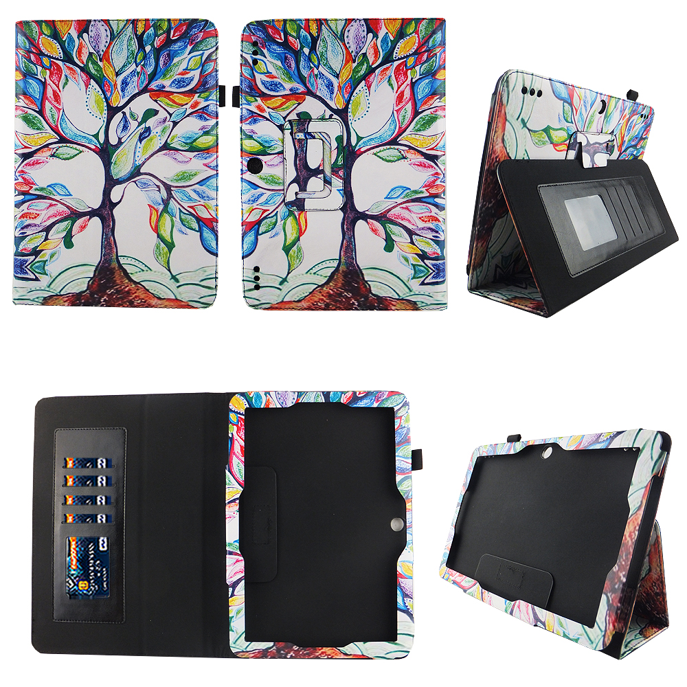 UV HD print design perfect fit slim PU leather tablet case with card slots for Insignia 10.1