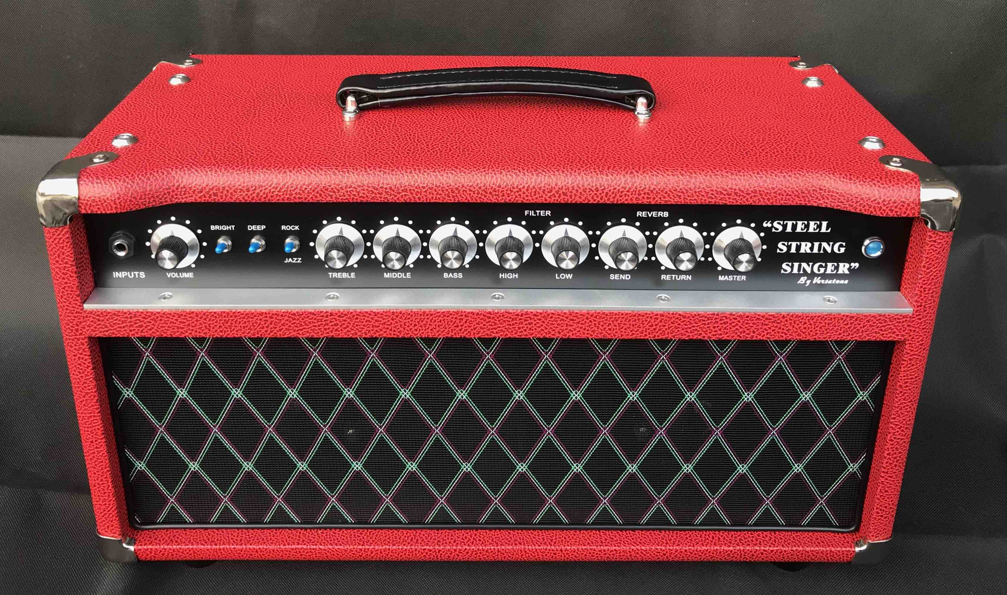 Professional Tube Guitar AMP Head 100W Dumble Tone SSS Steel String Singer Valve Amplifier in Red