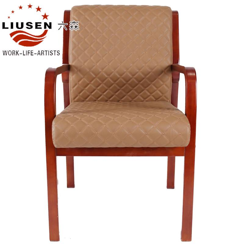 2016 New Hot Sale Bright Solid Wood Meeting Chair Embossed Cow Leather Chair (LS-DB-0007)