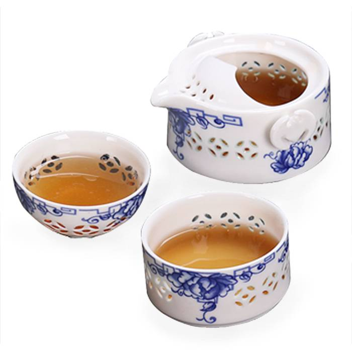 Chinese traditional blue and white ceramic tea set