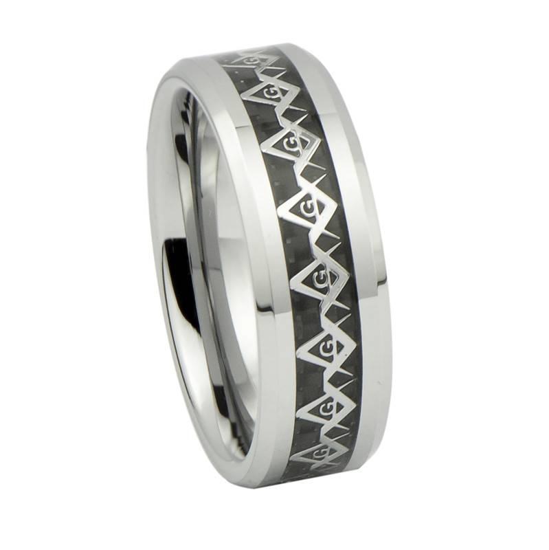 2014 Fashion Jewelry, Silver Masonic Pattern Inlay Tungsten Carbide Wedding Rings