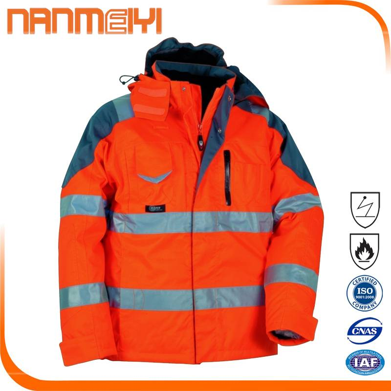 Water Repellent Finish Hi Vis Red Safety Reflective Jacket