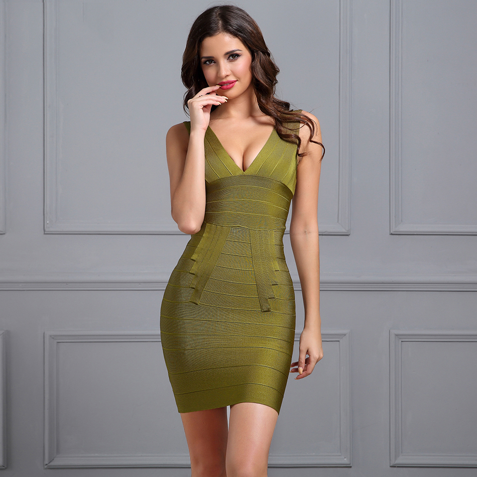 Sexy V Neck Oliva Bandage Dress