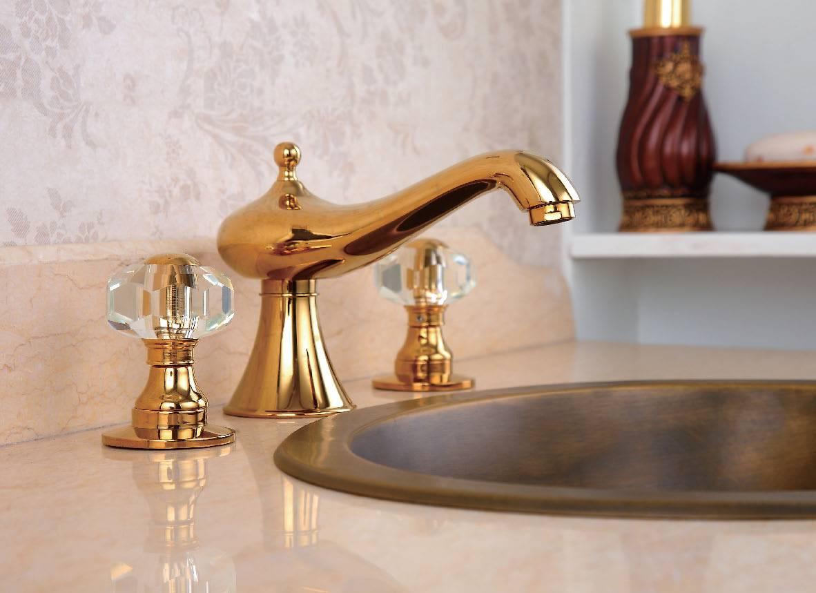 3 holes antique brass gold basin faucet