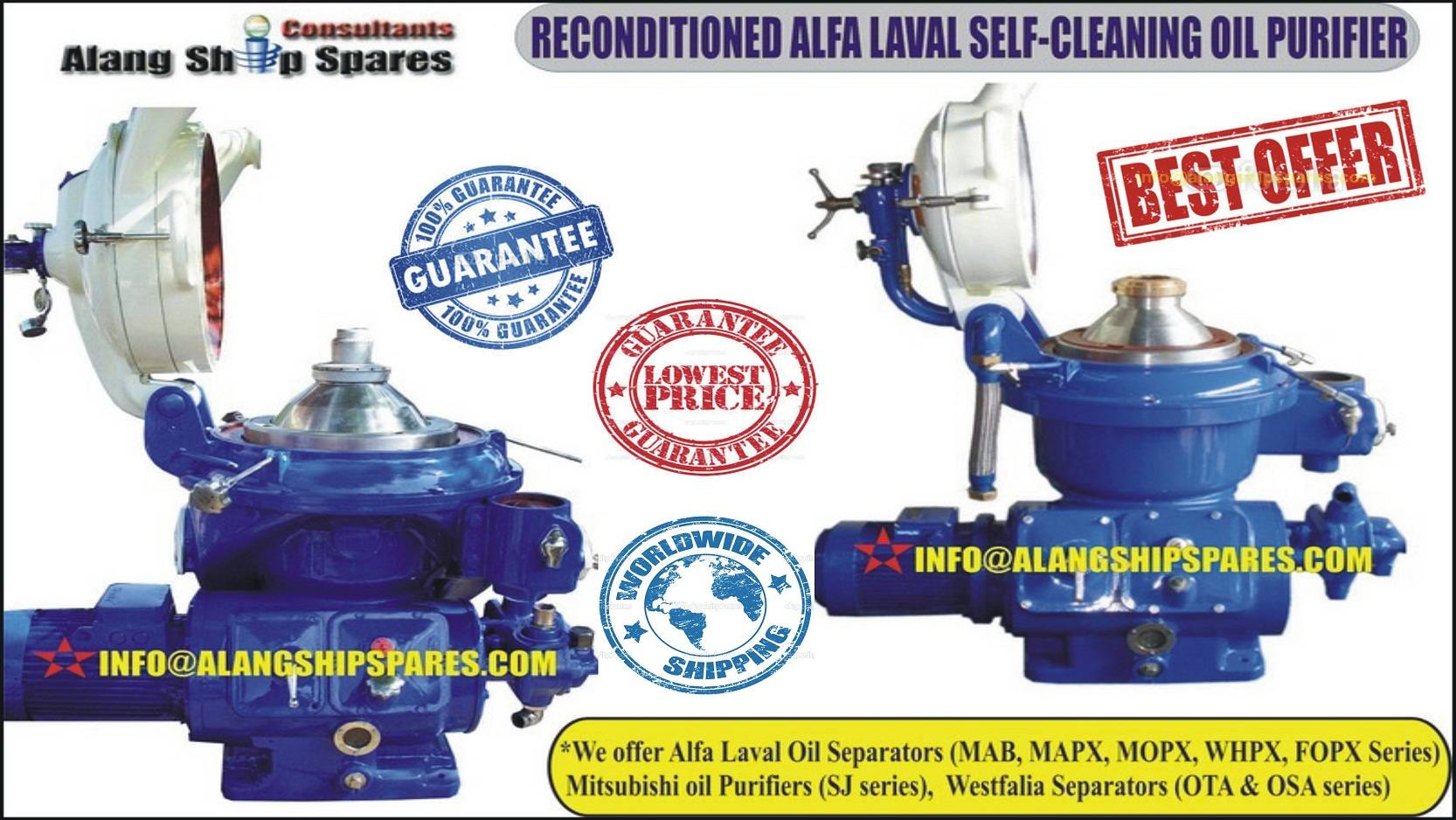 Centrifugal separator Alfa Laval MAPX-207 and MOPX-207 of lube oil , Diesel oil purification