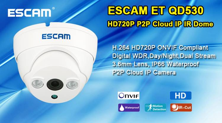 2015 ESCAM fashion style H.264 QD530 ET (1280*720) P2P Onvif 720p ip camera mini