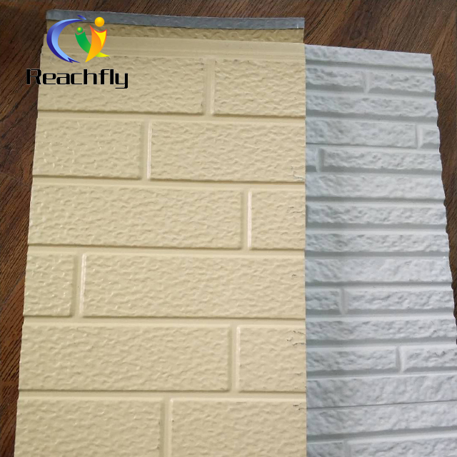 Metal wall thermal insulation brick vein decoration pu sandwich panel.