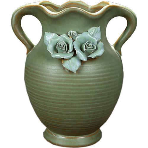 Rustic Charm Green Ceramic Succulent Planters